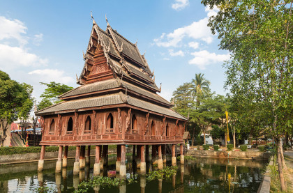 The library on stilts in Wat Thung Si Muang temple in Ubon Ratchatani in Isan, north eastern Thailand.